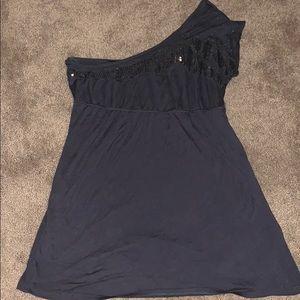 Single shoulder sequin top